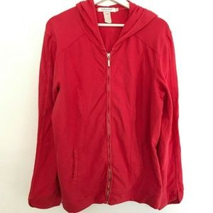 Fresh Produce Size Large Red Hoodie Sweater Zipper